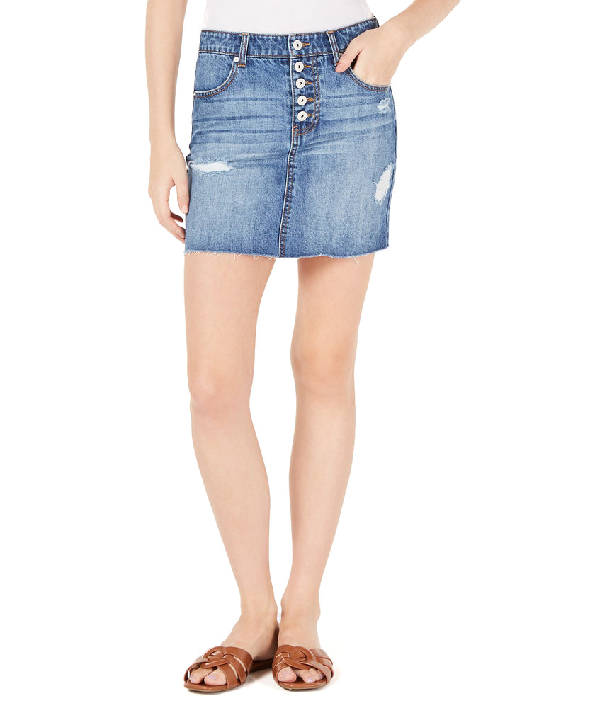 Yieldings Discount Clothing Store's Juniors' Cotton Button-Fly Denim Mini Skirt by Vanilla Star in Kemal