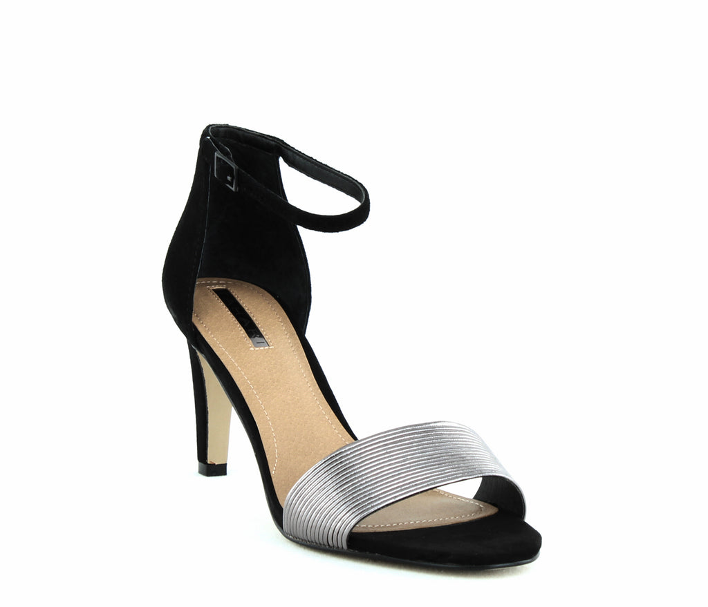 Yieldings Discount Shoes Store's Novel Ankle Strap Sandals by Tahari in Gunmetal/Black