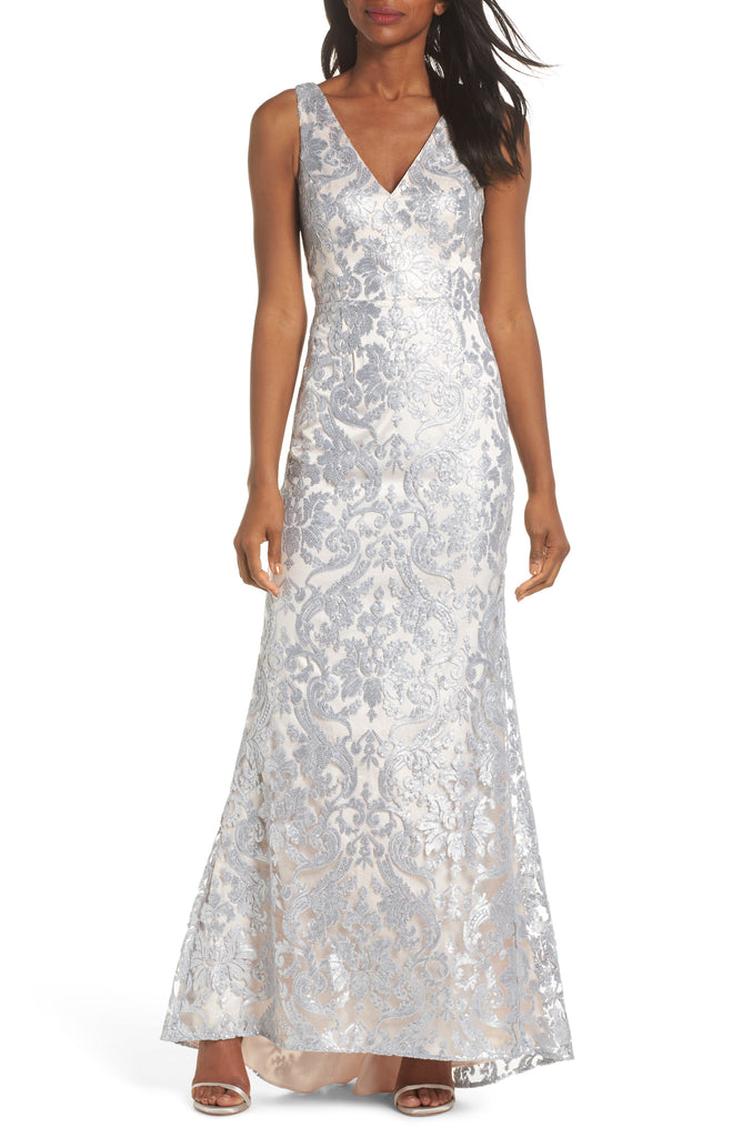 Yieldings Discount Clothing Store's Sequined Mermaid Evening Dress by Eliza J in Silver