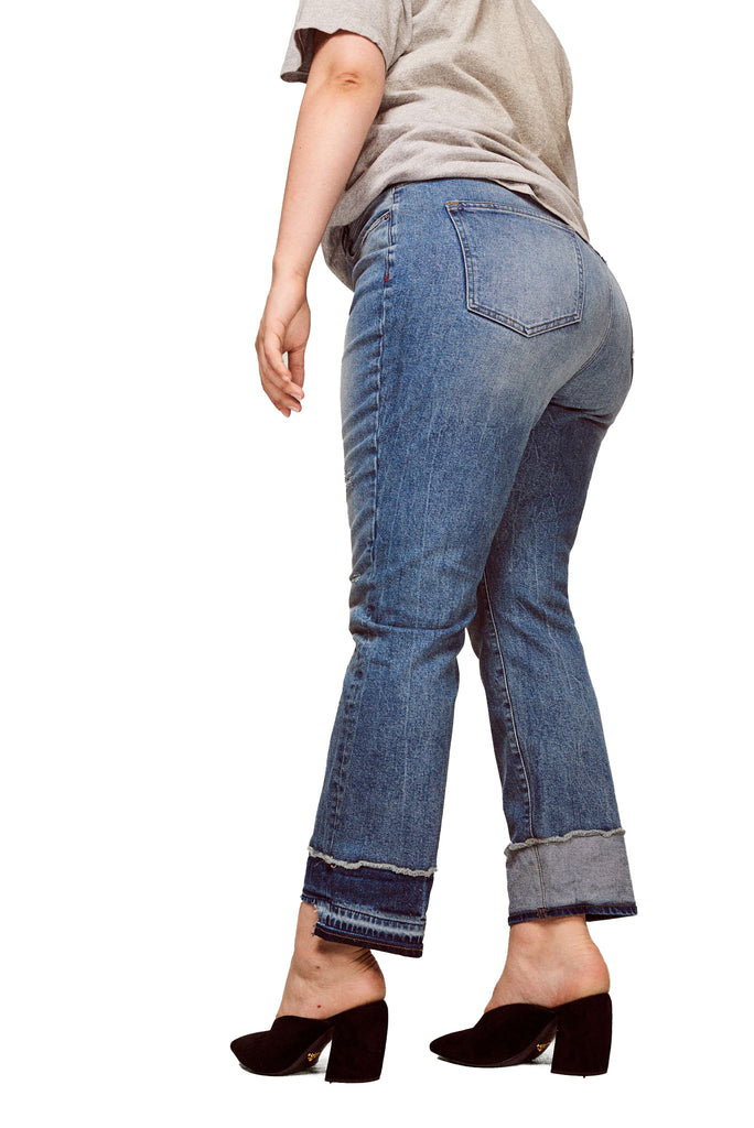 Yieldings Discount Clothing Store's CDG - High Rise Straight Plus-Size Jeans by Warp + Weft in Azure