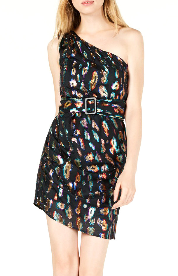 Yieldings Discount Clothing Store's One Shoulder Inari Dress by Guess in Jet Black