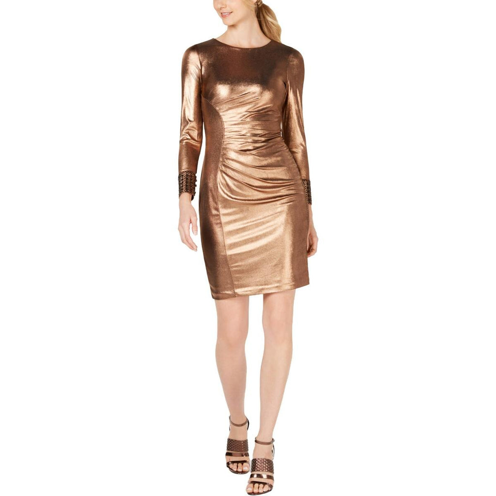 Yieldings Discount Clothing Store's Metallic Bodycon Dress by Calvin Klein in Gold