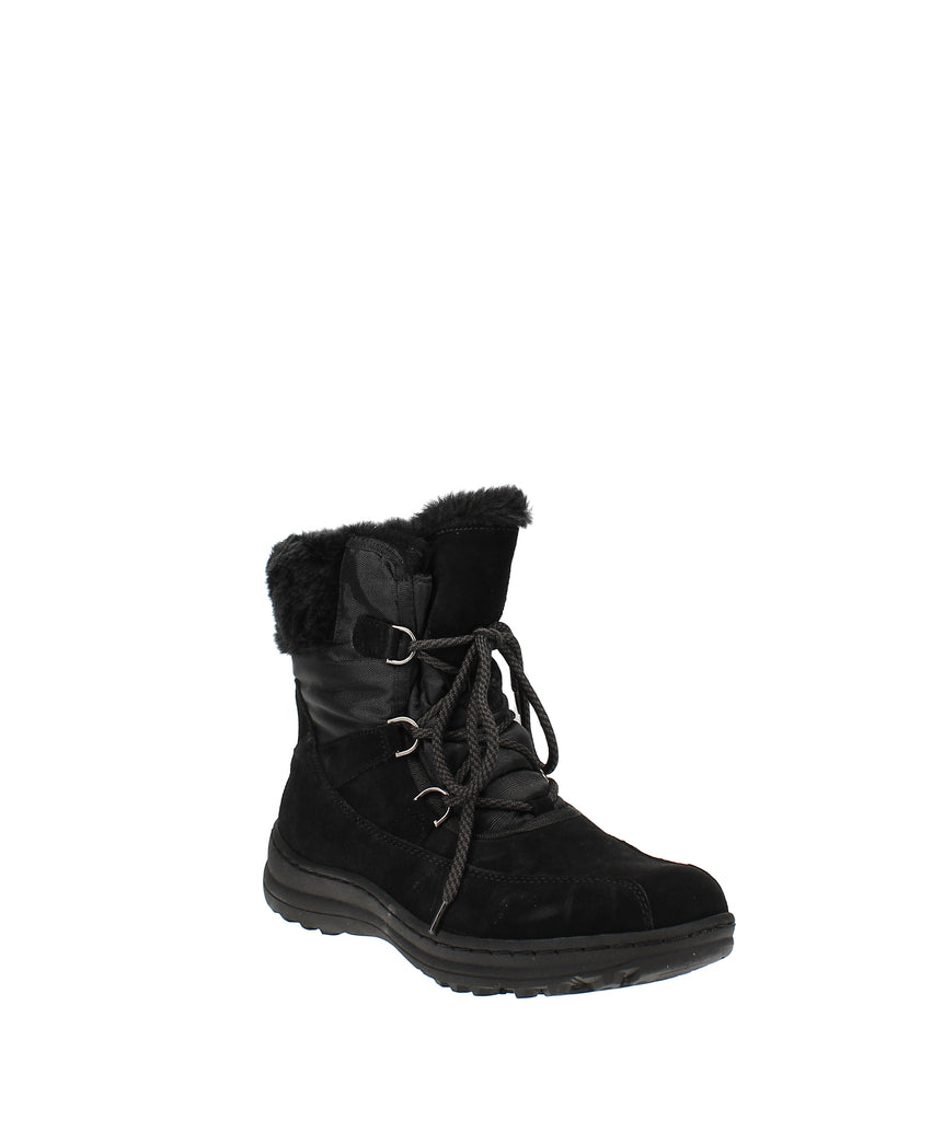 Yieldings Discount Shoes Store's Aero Suede Ankle Winter Boots by Baretraps in Aero Black