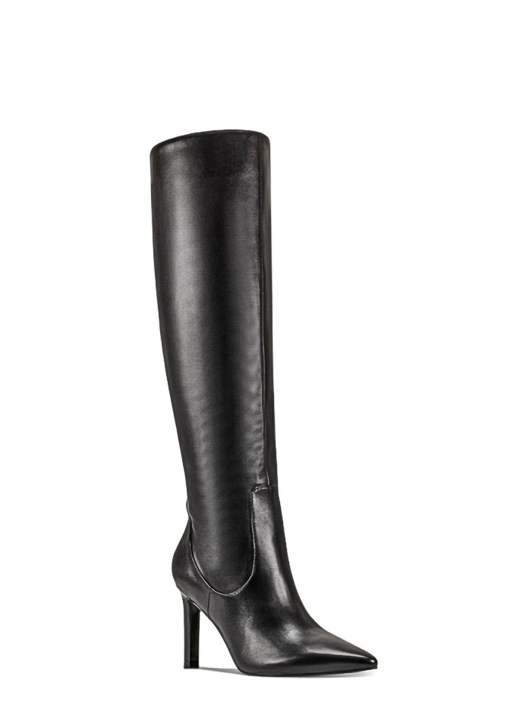Yieldings Discount Shoes Store's Maxim Heeled Dress Boots by Nine West in Black Leather