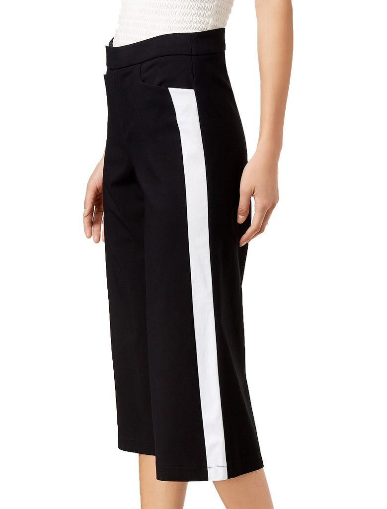 Yieldings Discount Clothing Store's Gypsy Dream Racer-Stripe Cropped Pants by Bar III in White Stripe