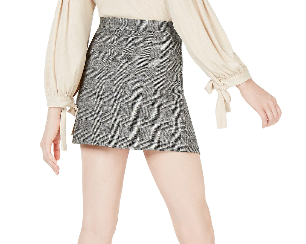Yieldings Discount Clothing Store's Button Front Asymmetrical Skirt by Sage in Plaid Grey