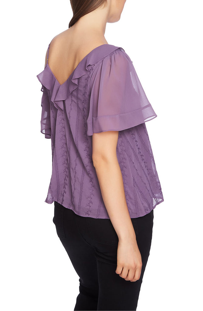 Yieldings Discount Clothing Store's Ruffle One-Shoulder Embroidered Top by 1.State in Dusty Plum