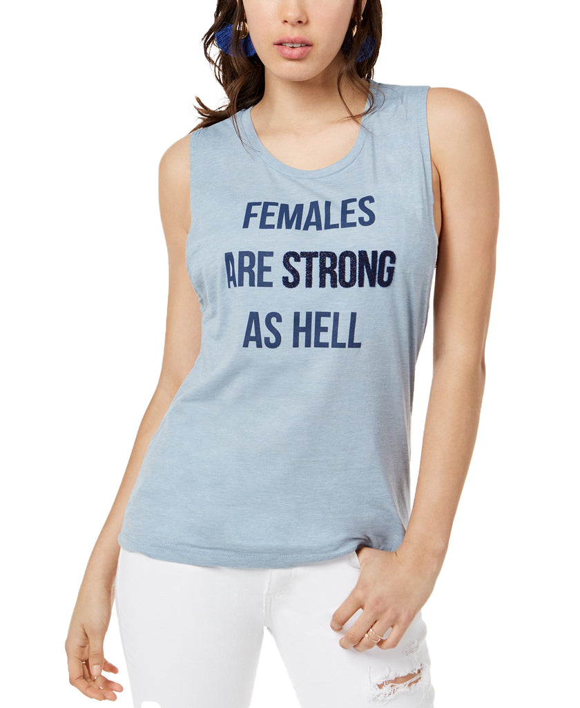 Yieldings Discount Clothing Store's Females Are Strong Graphic Cotton Tank Top by True Vintage in Stone Wash