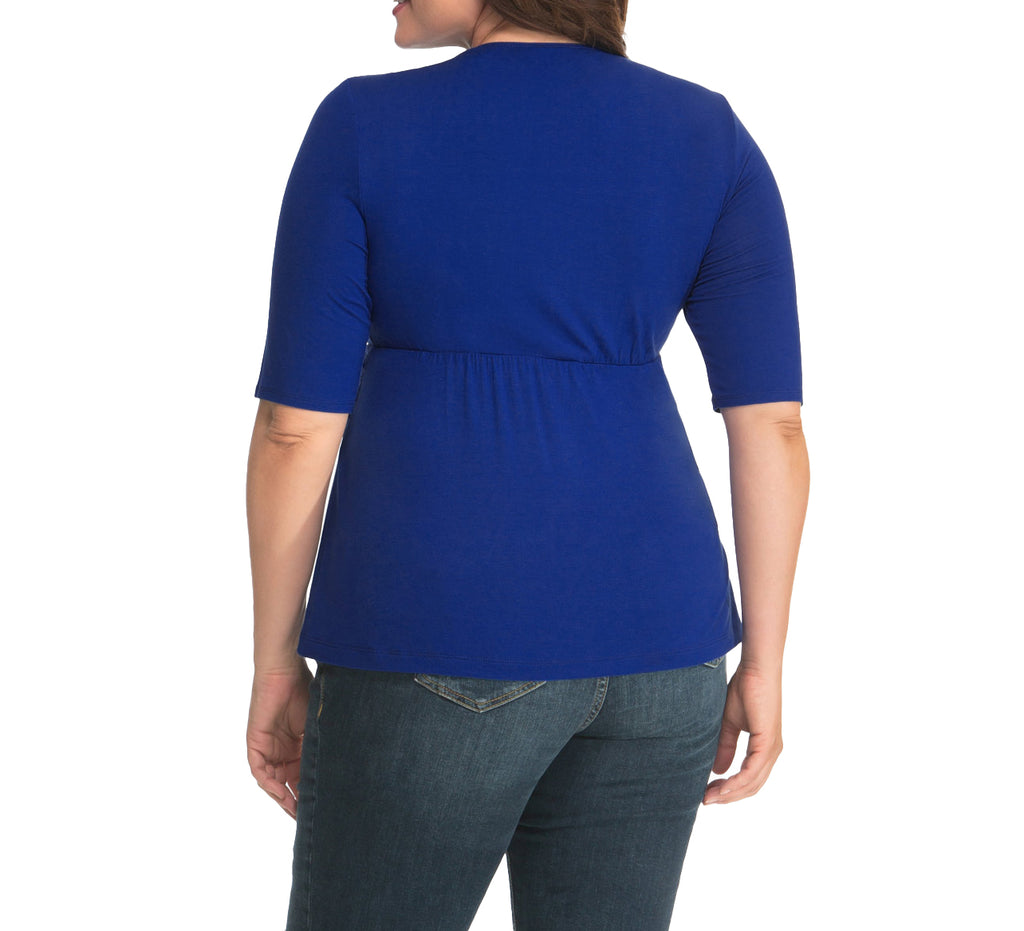Yieldings Discount Clothing Store's Caycee Twist Top by Kiyonna in Blue