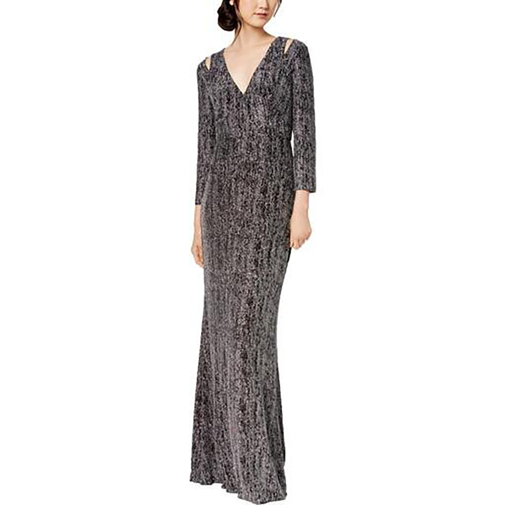 Yieldings Discount Clothing Store's Sparkle Cut-Out Evening Dress by Calvin Klein in Black/Silver
