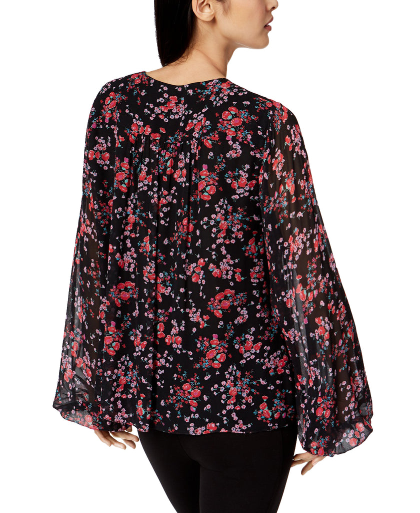 Yieldings Discount Clothing Store's Floral-Print Top by Nanette Lepore in Black Multi