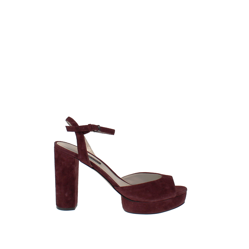Yieldings Discount Shoes Store's Gail Platform Dress Sandal by Nine West in Dark Red