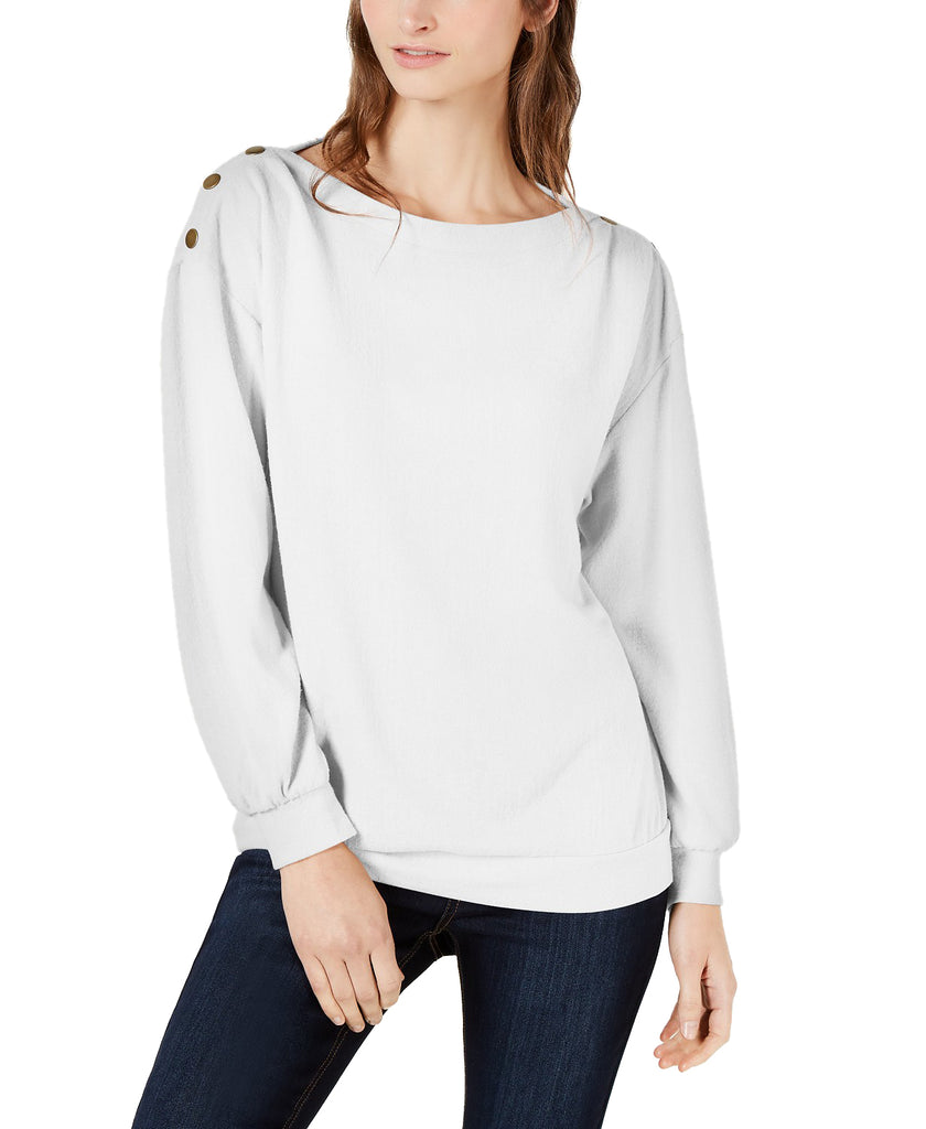 Yieldings Discount Clothing Store's Cozy Metallic-Trim Sweatshirt by 1.State in Soft Ecru