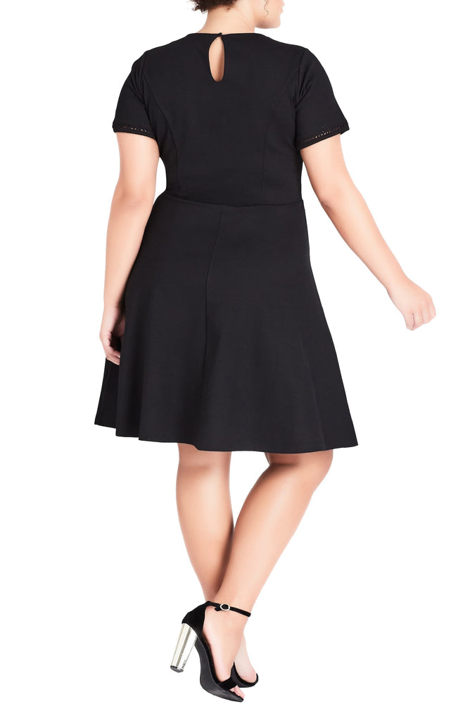 Yieldings Discount Clothing Store's Plus Size Classic Fit & Flare Dress by City Chic in Black