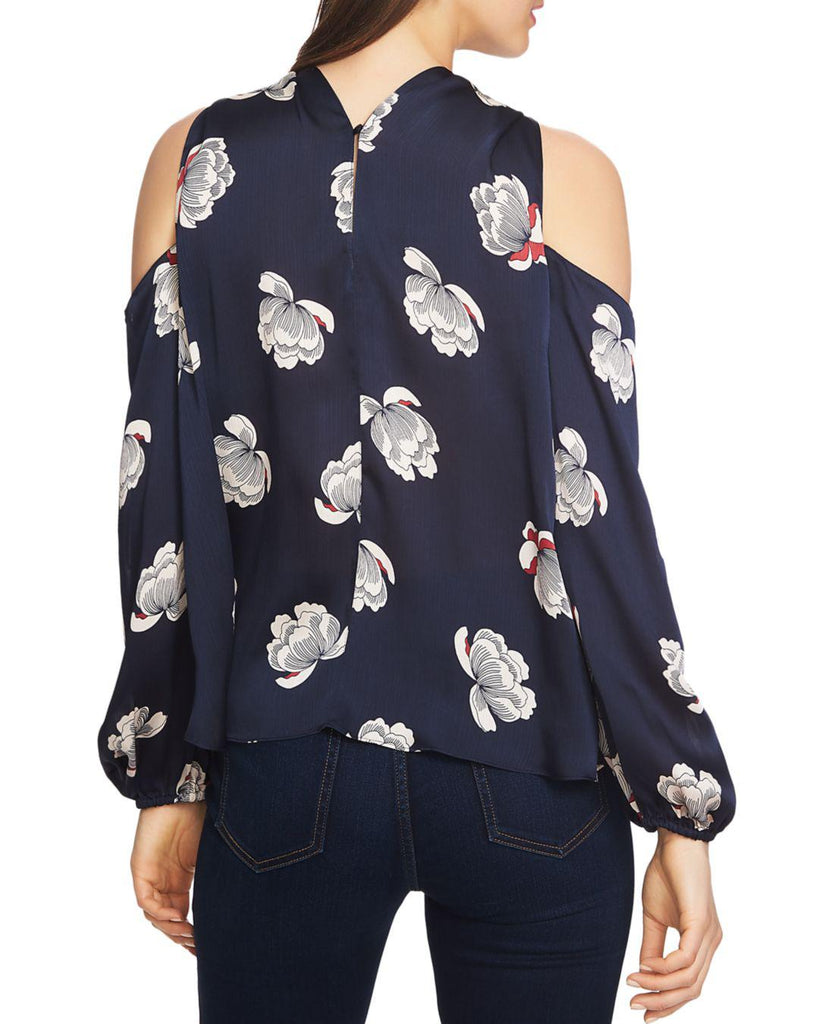Yieldings Discount Clothing Store's Cold Shoulder Floral Blouse by 1.State in Blue Night