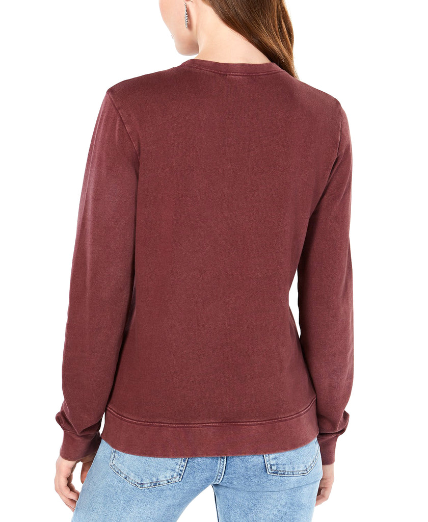 Yieldings Discount Clothing Store's Floral Embroidered Graphic Sweater by Lucky Brand in Wine