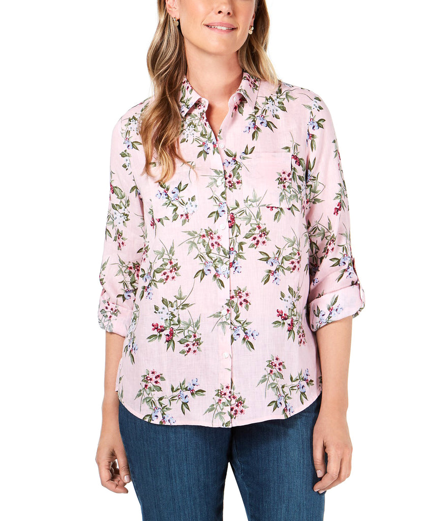 Yieldings Discount Clothing Store's Tab-Sleeve High-Low Blouse by Maison Jules in Apple Blossom Combo