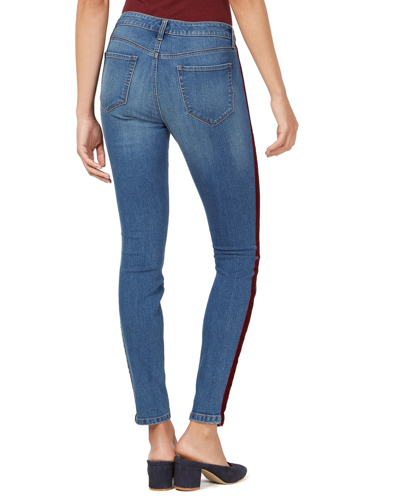 Yieldings Discount Clothing Store's Denim Side-Stripe Skinny Jeans by Maison Jules in Cyan
