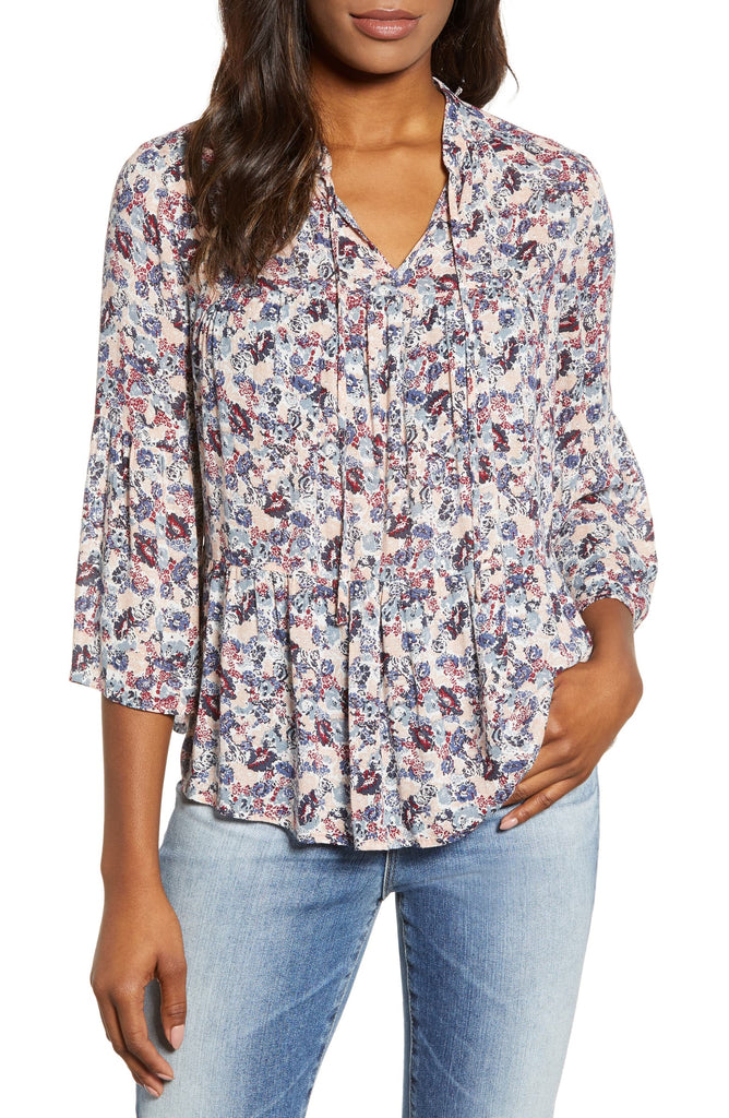 Lucky Brand | Floral Tiered Peasant Blouse