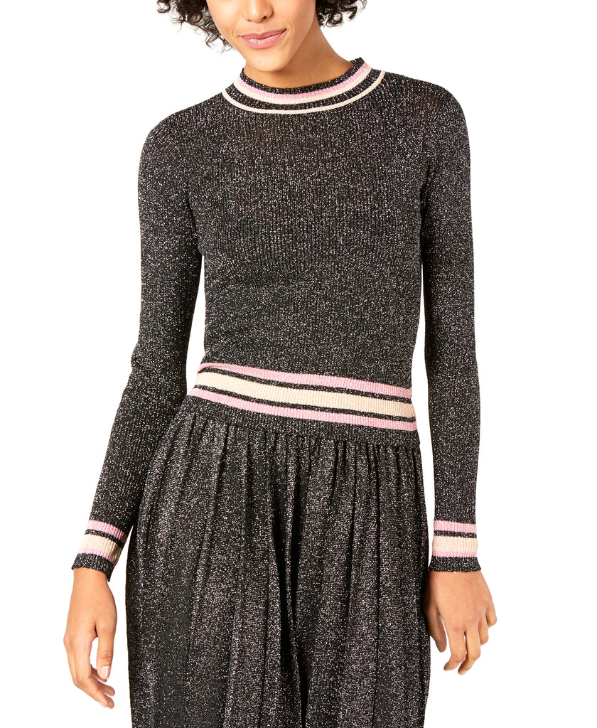 Yieldings Discount Clothing Store's Nicole Striped-Trim Metallic Sweater by Lucy Paris in Black