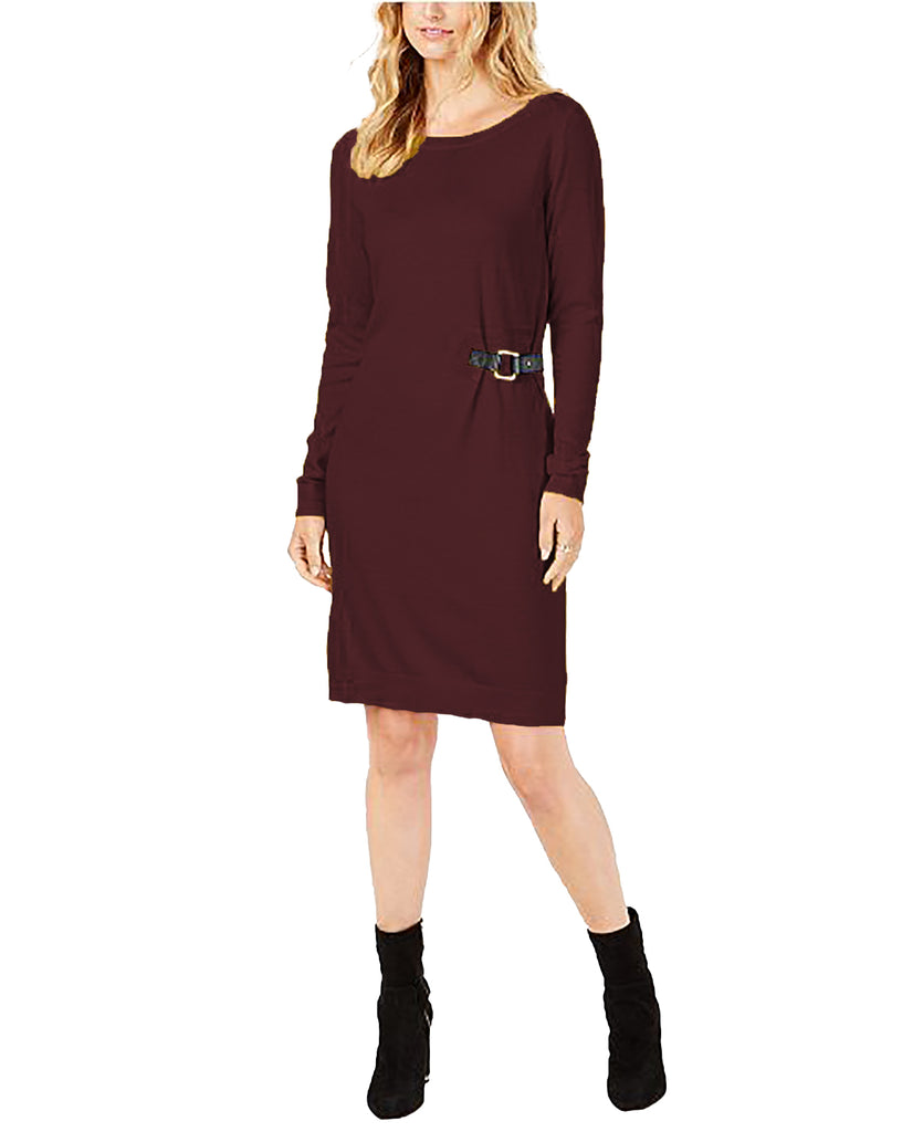 Yieldings Discount Clothing Store's Buckle-Trim Sweater Dress by MICHAEL Michael Kors in Cordovan