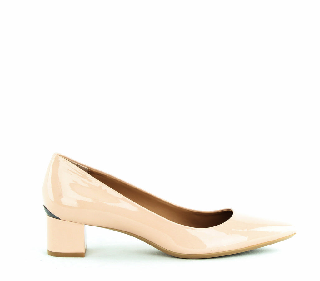 Yieldings Discount Shoes Store's Genoveva Block Heel Pumps by Calvin Klein in Blush Patent
