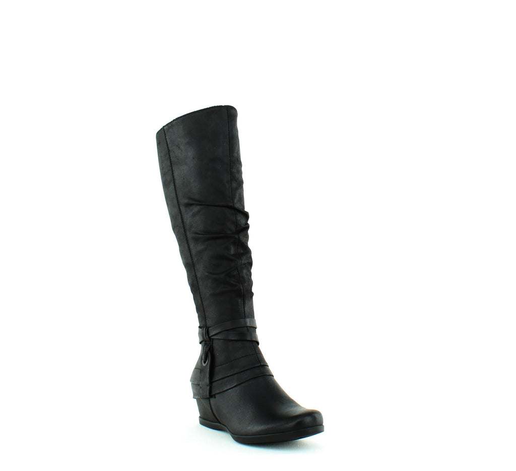 Yieldings Discount Shoes Store's Quarles Slouchy Boots by Baretraps in Black Microfiber