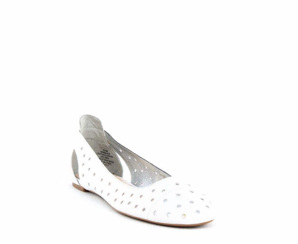 Yieldings Discount Shoes Store's Marie Casual Perforated Ballet Flats by Nine West in White