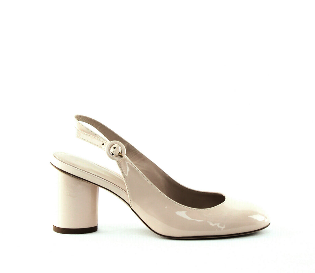 Yieldings Discount Shoes Store's Coretta Patent Slingback Pumps by Stuart Weitzman in Cashew Gloss