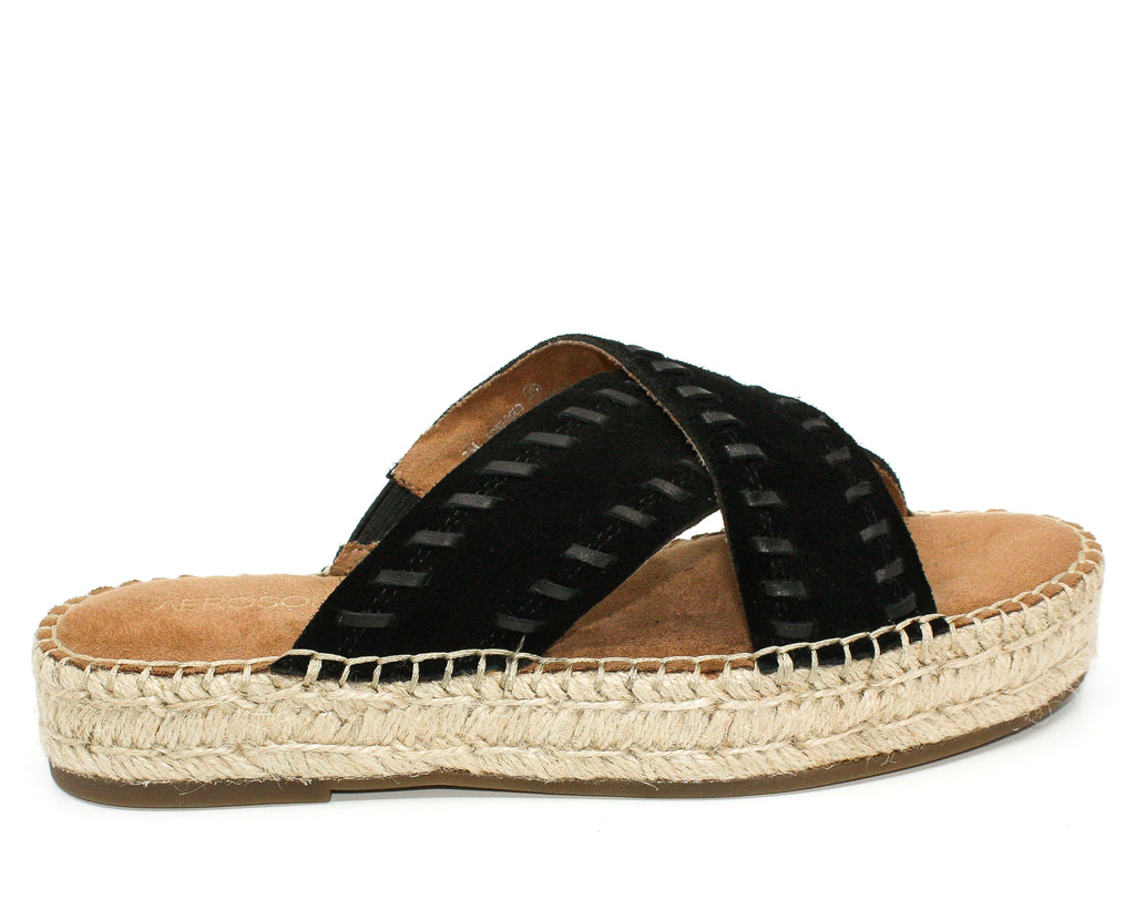 Yieldings Discount Shoes Store's Rose Gold Suede Espadrilles Platform Sandals by Aerosoles in Black