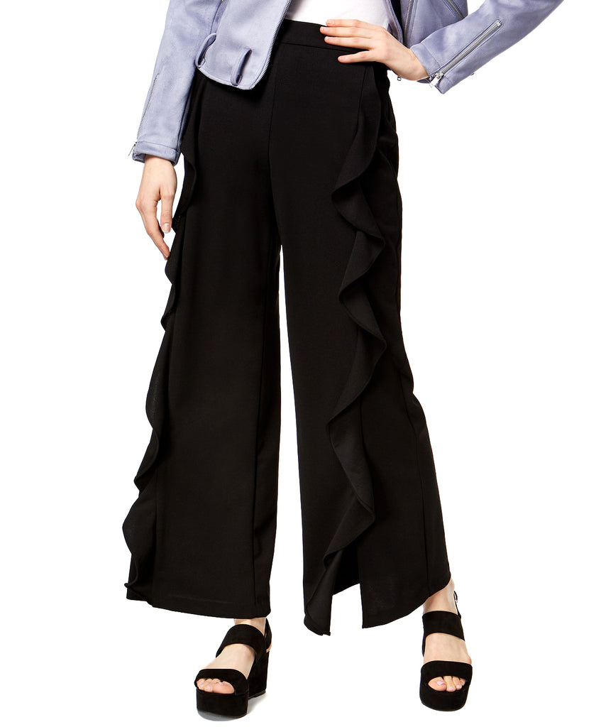 Yieldings Discount Clothing Store's Ruffled Wide-Leg Pants by Bar III in Deep Black