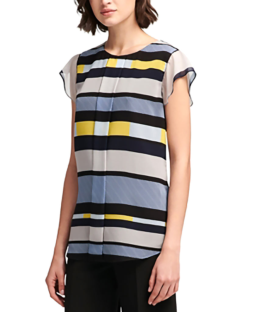 Yieldings Discount Clothing Store's Short-Sleeve Printed Top by DKNY in Living Linear