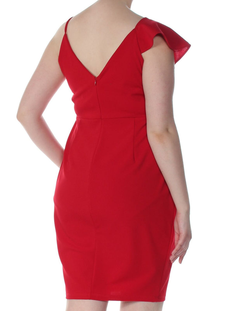 Yieldings Discount Clothing Store's Asymmetrical Ruffled Bodycon Dress by Soprano in African Red