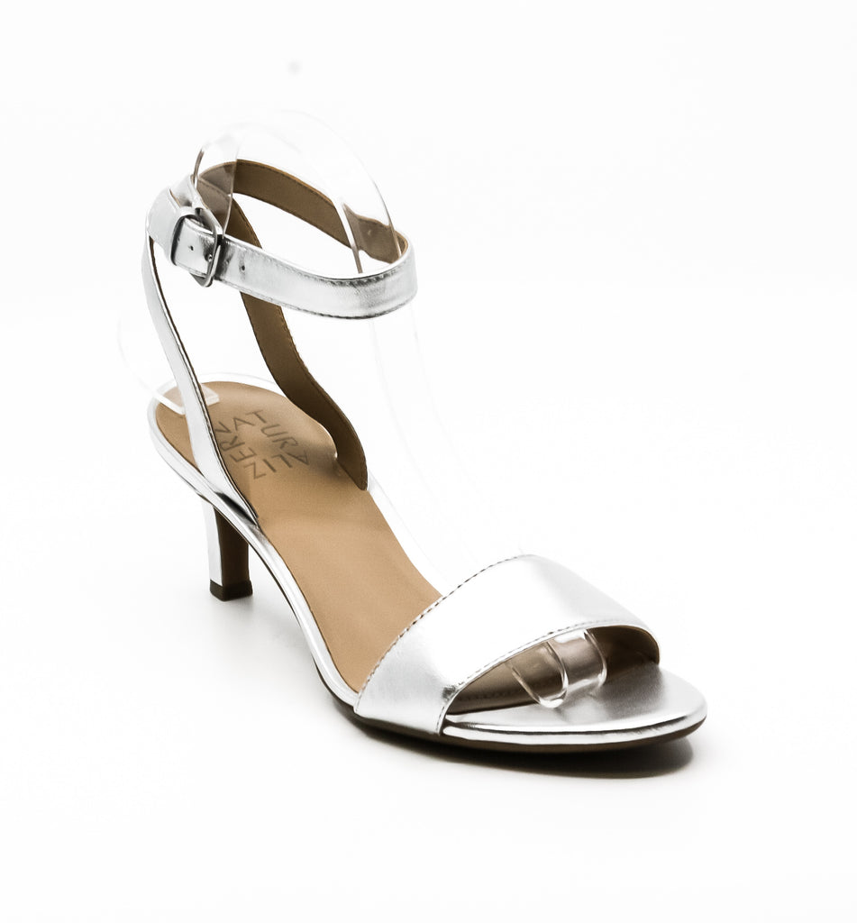 Yieldings Discount Shoes Store's Tinda Leather Heel Sandals by Naturalizer in Soft Silver
