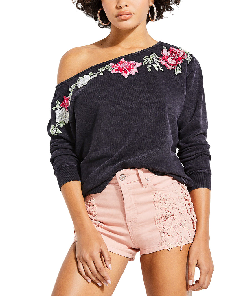 Guess | Shirley Embroidered Off-the-Shoulde Sweatshirt