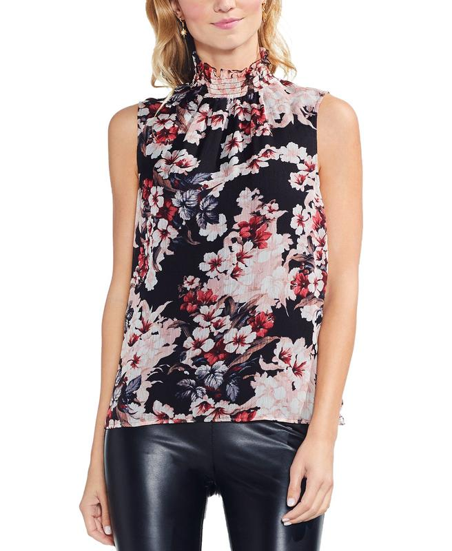 Yieldings Discount Clothing Store's Floral Sleeveless Smocked Mock-Neck Blouse by Vince Camuto in Rich Black