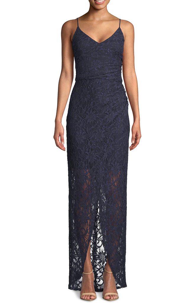 Yieldings Discount Clothing Store's Petite Lace Tulip Wrap Gown by Betsy & Adam in Navy