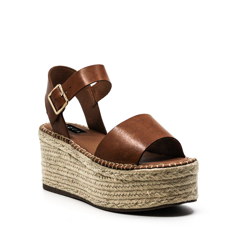 Yieldings Discount Shoes Store's Rowan Leather Wedge Sandals by Aqua in Cognac