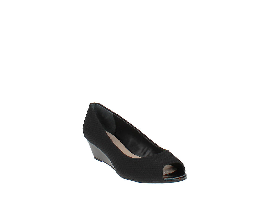 Yieldings Discount Shoes Store's Step 'N Flex Cammi Wedges by Alfani in Black