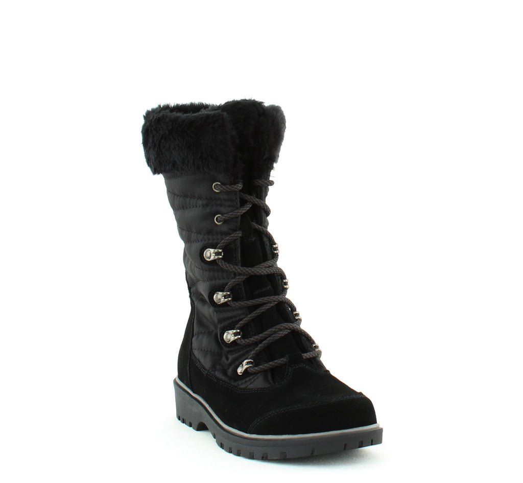 Yieldings Discount Shoes Store's Satin Lace-Up Cold Weather Boot by Baretraps in Black