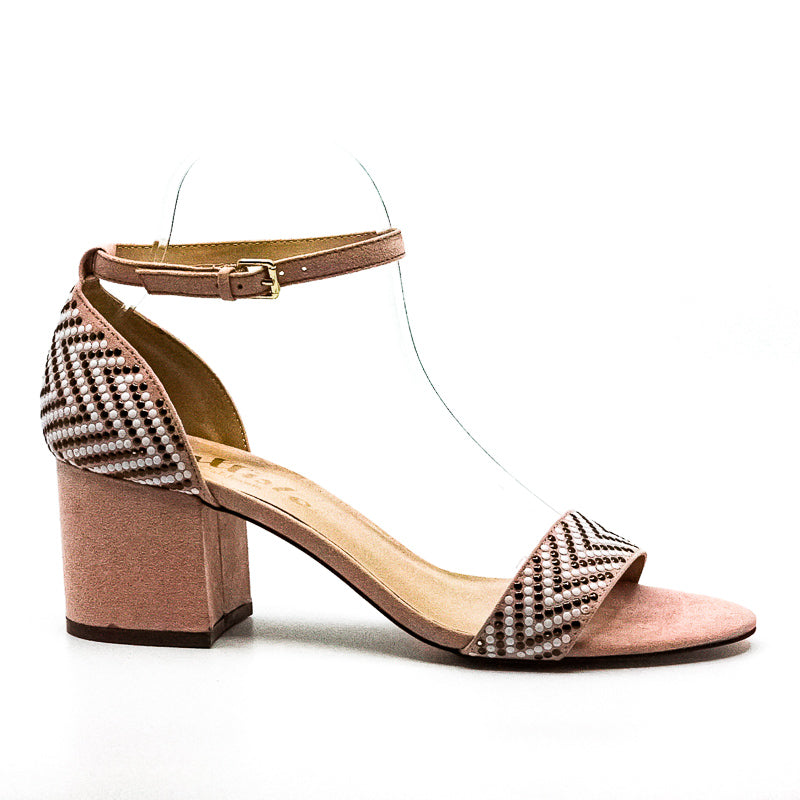 Yieldings Discount Shoes Store's Nessa Suede Block Heel Sandals by Callisto Of California in Blush