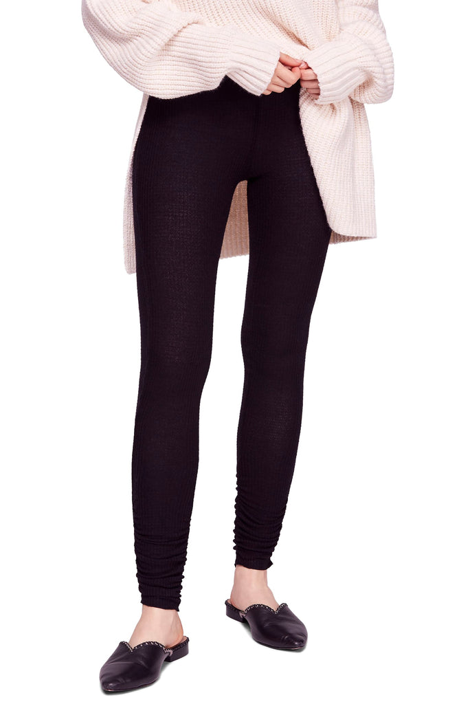Yieldings Discount Clothing Store's Lou Lou Ruched Thermal Legging by Free People in Black