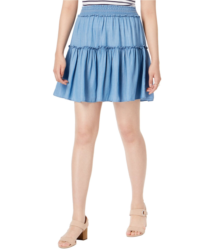 Yieldings Discount Clothing Store's Tiered Pull-On Skirt by Maison Jules in Tencel Chambray