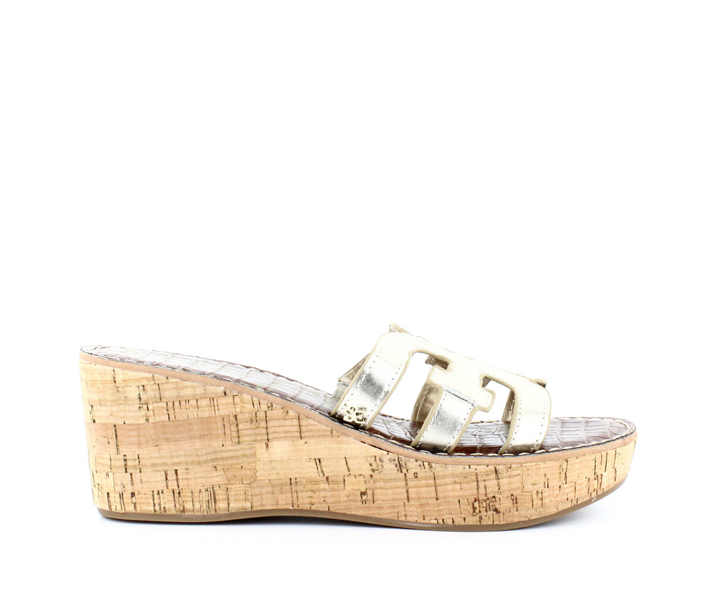 Yieldings Discount Shoes Store's Regis Platform Wedge Slide Sandals by Sam Edelman in Light Gold