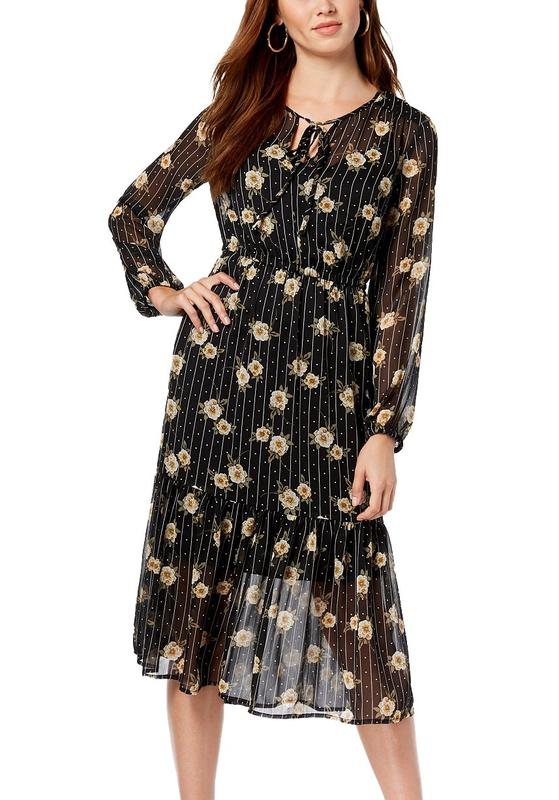 Yieldings Discount Clothing Store's Floral-Print Midi Dress by Maison Jules in Black Combo