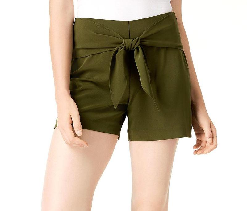 Yieldings Discount Clothing Store's Tie Front Shorts by Bar III in Native Green