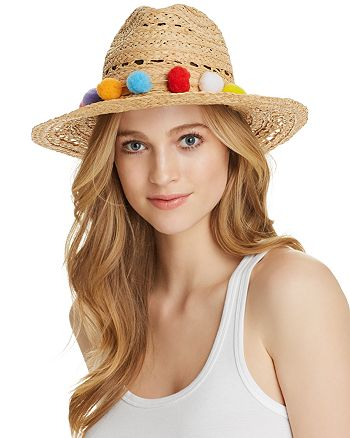 Yieldings Discount Accessories Store's Pom-Pom Trim Raffia Hat by Aqua in Natural