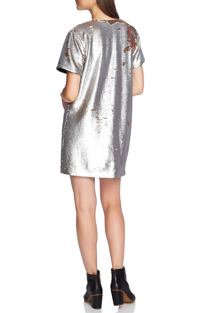 Yieldings Discount Clothing Store's Sequin Minidress by 1.State in Silver Mist