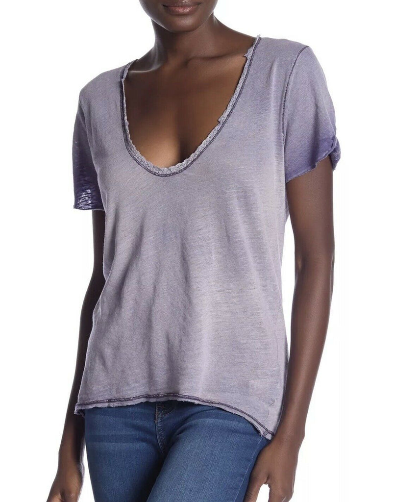 Yieldings Discount Clothing Store's Crochet Trim T-Shirt by Free People in Lilac