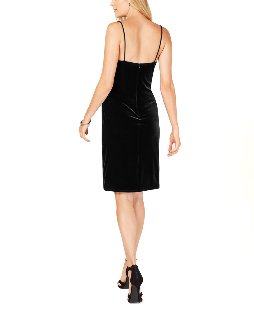 Yieldings Discount Clothing Store's Ruched Velvet Dress by Laundry by Shelli Segal in Black